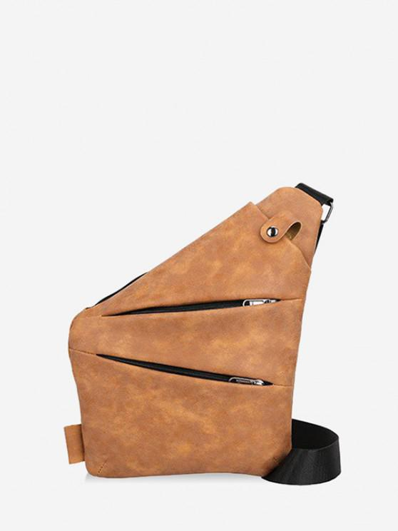 Multi Zip Pockets Geometric Chest Bag - قهوة