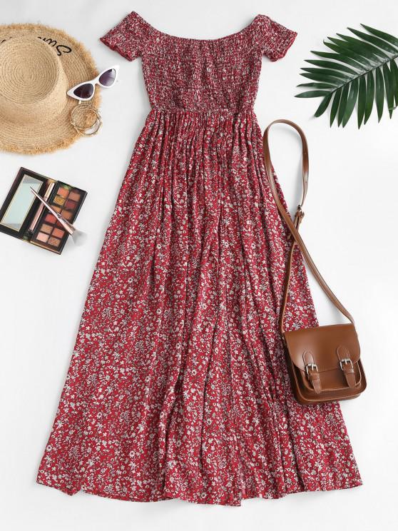 fashion Ditsy Floral Smocked Off Shoulder Slit Dress - RED XS