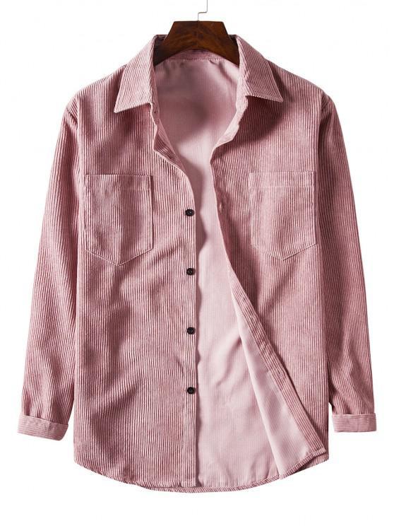 Solid Color Pockets Button Up Corduroy Shirt - زهري 3XL