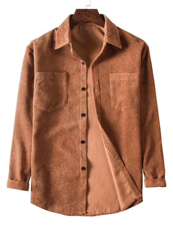 latest Solid Color Pockets Button Up Corduroy Shirt - BROWN XL