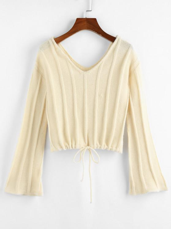 ZAFUL Flare Sleeve Drawstring Dual V Neck Sweater - القهوة الخفيفة M