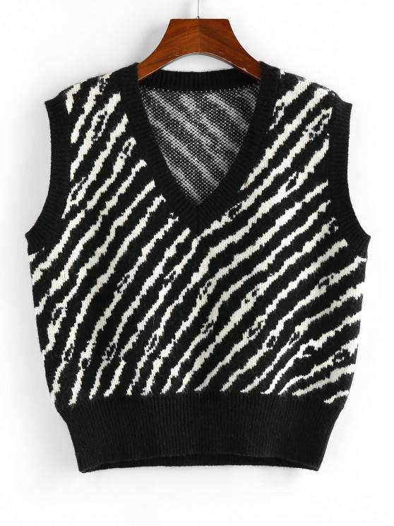 ZAFUL Striped V Neck Loose Sweater Vest - أسود S