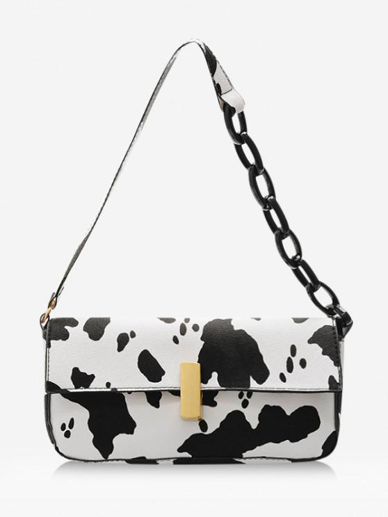 outfits Cow Printed Chain Shoulder Bag - WHITE