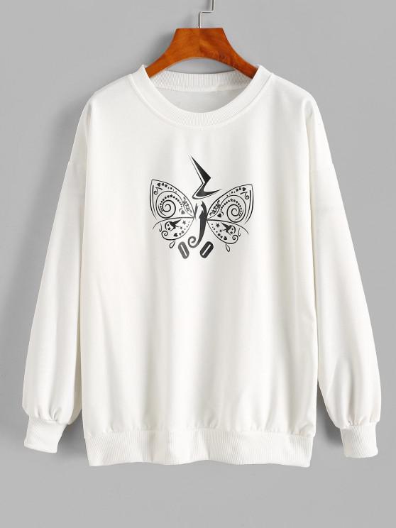 best Crew Neck Creative Butterfly Graphic Sweatshirt - WHITE L