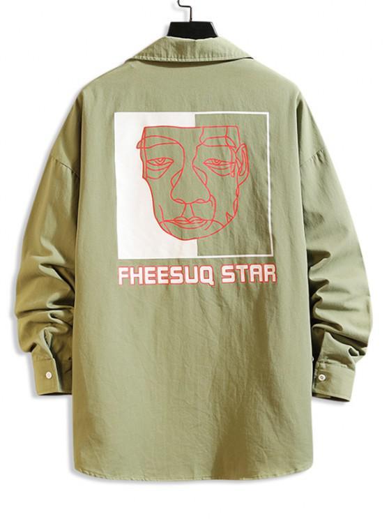 outfits Figure Sketch Letter Print Pocket Patch Shirt - JUNGLE GREEN L