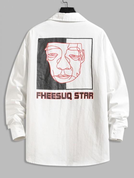 affordable Figure Sketch Letter Print Pocket Patch Shirt - WHITE 2XL