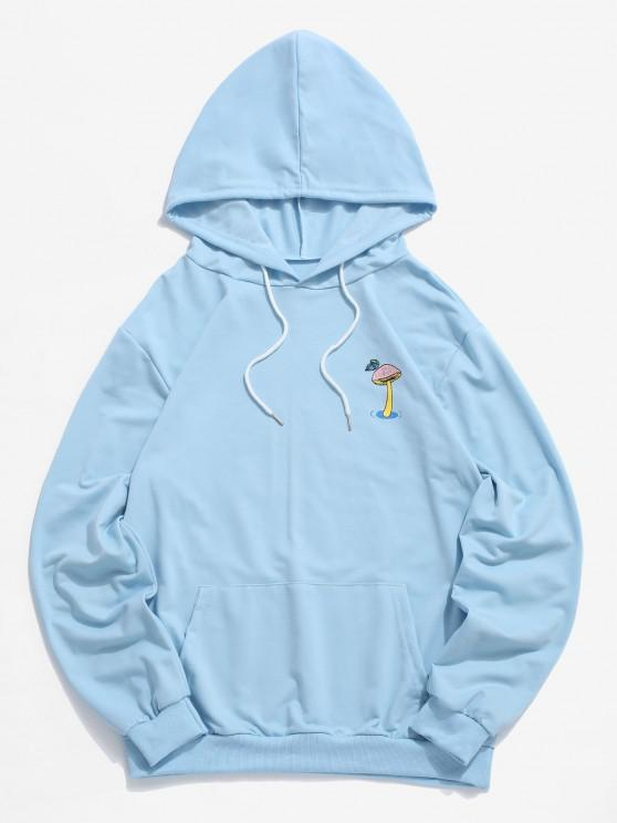 affordable Mushroom Graphic Pouch Pocket Pullover Hoodie - LIGHT SKY BLUE 2XL