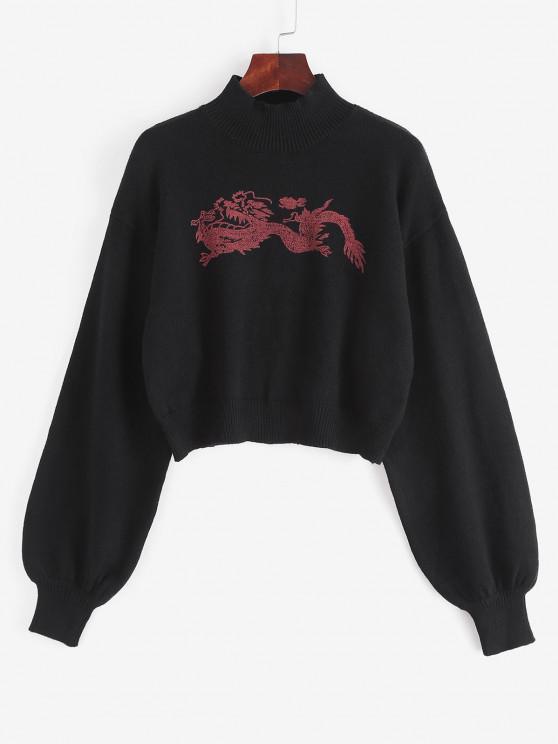 Mock Neck Oriental Dragon Graphic Sweater - أسود حجم واحد