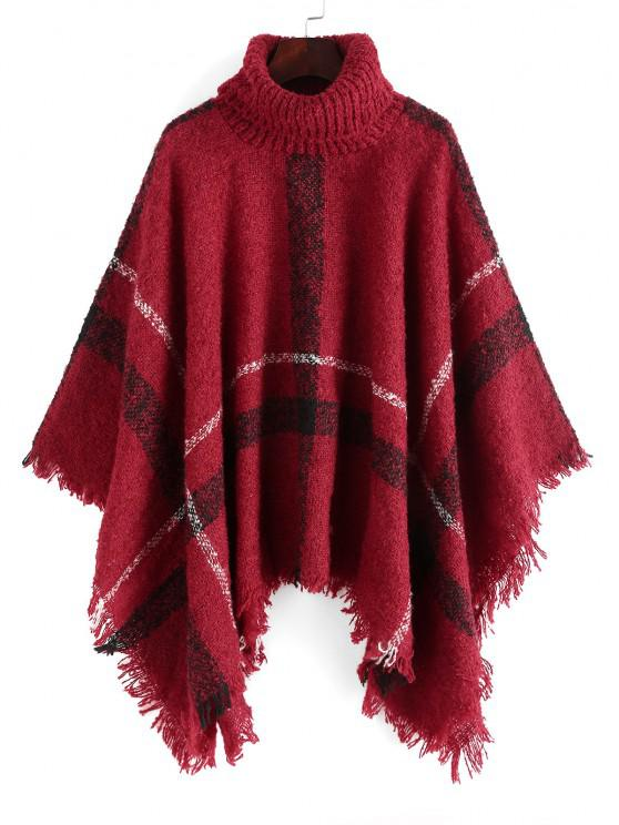 online Plaid Turtleneck Poncho Sweater - RED ONE SIZE