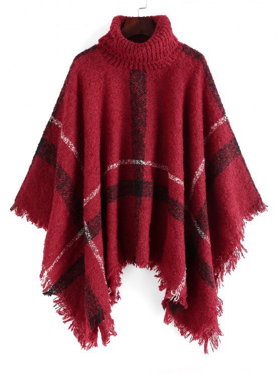 Plaid Turtleneck Poncho Sweater - أحمر حجم واحد