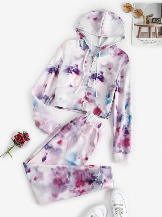 women Zip Up Tie Dye Sweat Two Piece Set - MULTI L