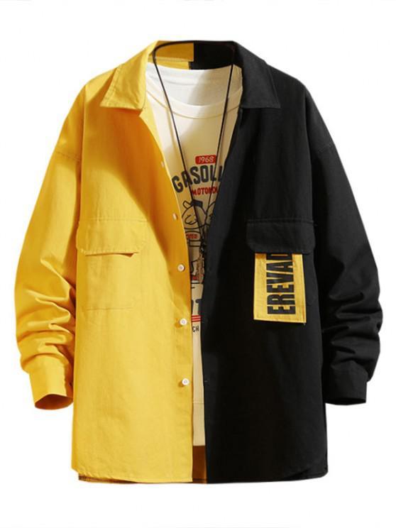 Letter Patchwork Colorblock Panel Shirt Jacket - أصفر فاقع M