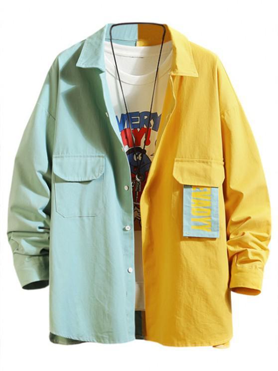 Letter Patchwork Colorblock Panel Shirt Jacket - الفيروز الداكن 3XL