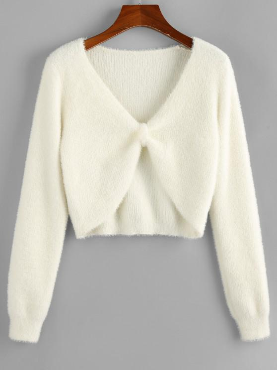 chic ZAFUL Fuzzy Knit Knotted Short Sweater - WHITE S