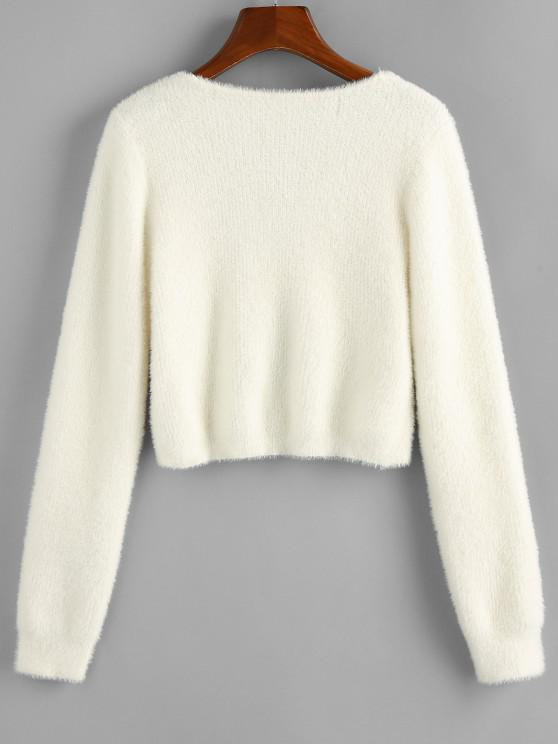 ZAFUL Fuzzy Knit Knotted Short Sweater - White S
