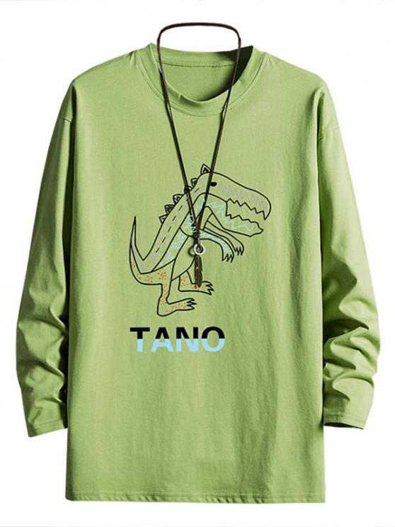 ladies Dinosaur Graphic Drop Shoulder Crew Neck T Shirt - AVOCADO GREEN M