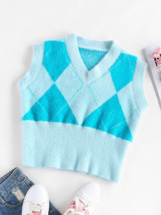 latest ZAFUL Fuzzy Argyle Knit V Neck Vest - LIGHT BLUE S