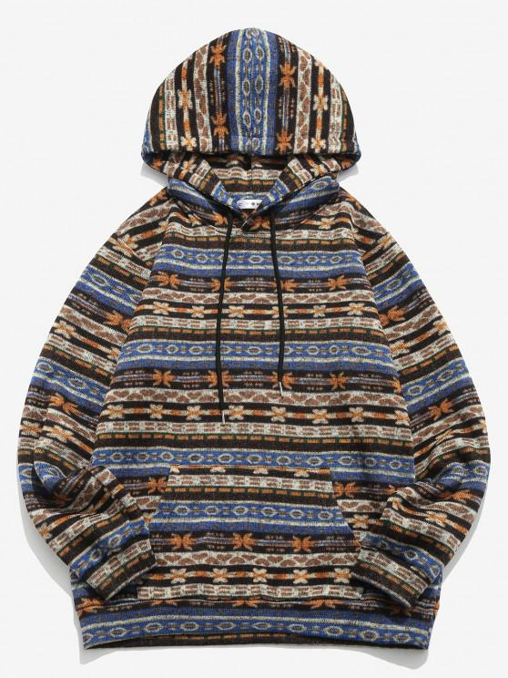 ZAFUL Tribal Pattern Kangaroo Pocket Fleece Hoodie - متعدد S