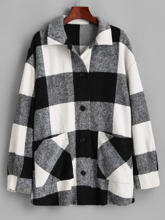 women's ZAFUL Plaid Button Up Oversized Wool Blend Coat - BLACK S