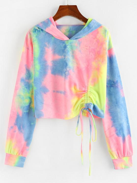 ZAFUL Tie Dye Cinched Cropped Hoodie - متعدد S