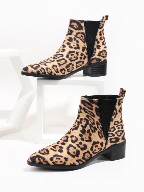Leopard Print Pointed Toe Chelsea Boots - متعددة-A الاتحاد الأوروبي 38