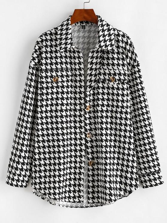 outfit Flap Pockets Houndstooth Cargo Shacket - BLACK XL