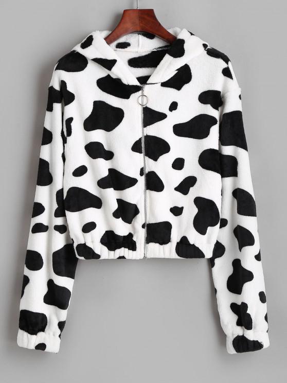 ZAFUL Hooded Fuzzy Cow Print Faux Fur Coat - أبيض S