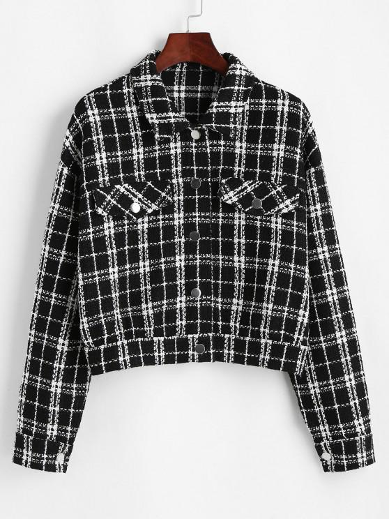 shops ZAFUL Plaid Flap Detail Tweed Jacket - BLACK XL