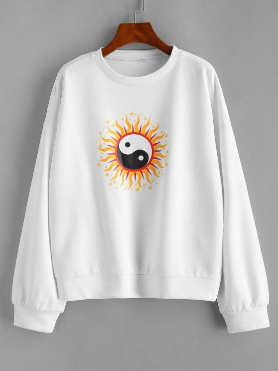 Star The Eight Trigrams Graphic Sweatshirt - أبيض L