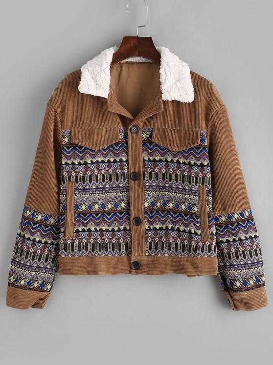 outfit Pockets Tribal Print Fur Collar Corduroy Jacket - COFFEE M