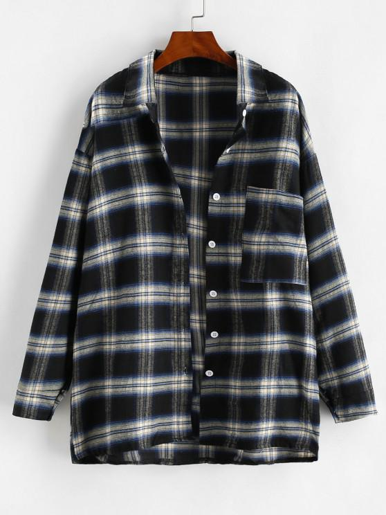 women Front Pocket Plaid Oversize Shacket - BLACK M