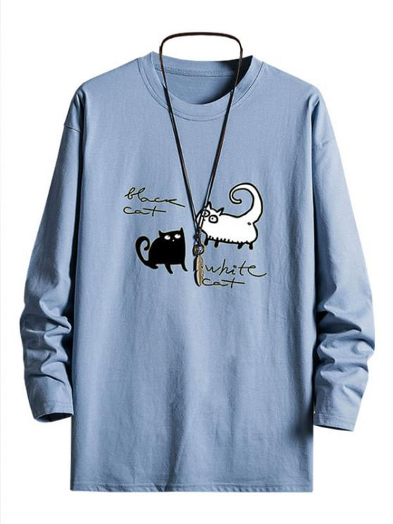 outfit Bicolor Cats Graphic Drop Shoulder Crew Neck T Shirt - SKY BLUE XS