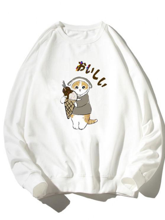 affordable Cartoon Cat Print Rib-knit Trim Sweatshirt - WHITE 2XL