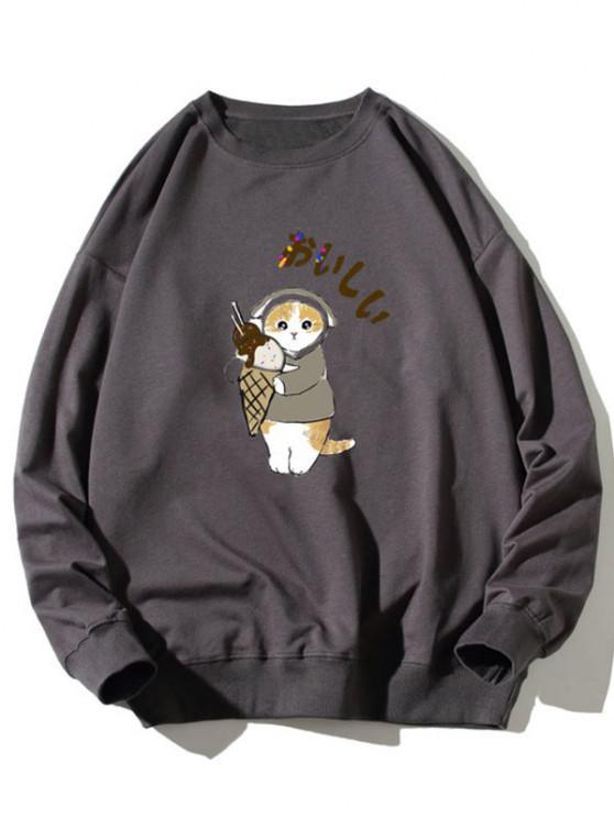 ladies Cartoon Cat Print Rib-knit Trim Sweatshirt - DARK GRAY XL
