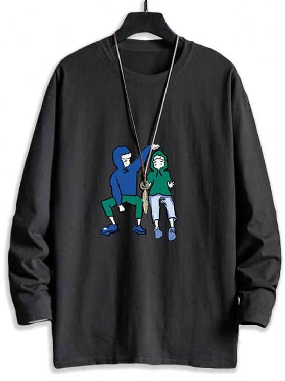 Cute Couples Graphic Drop Shoulder Crew Neck T Shirt - أسود XS
