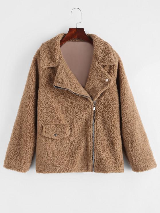 online Zip Up Flap Pocket Teddy Coat - BROWN M