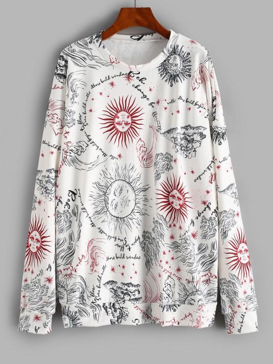 Oversize Sun Graphic Sweatshirt - أبيض M