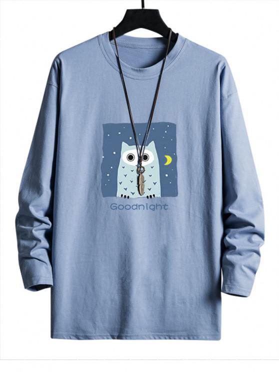 sale Night Owl Graphic Drop Shoulder Casual T Shirt - SKY BLUE XS