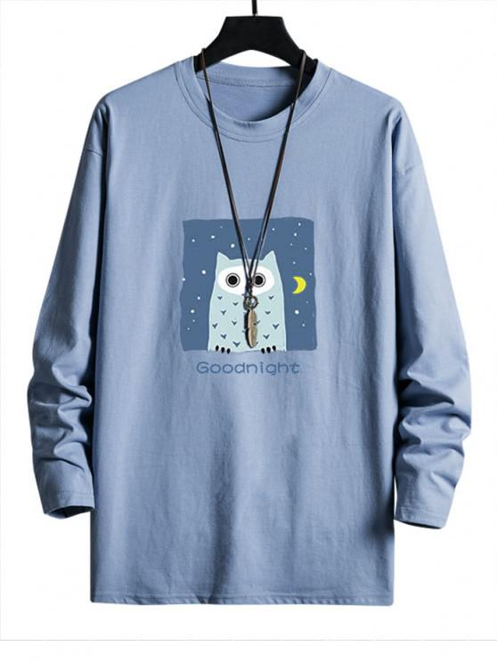 womens Night Owl Graphic Drop Shoulder Casual T Shirt - SKY BLUE S