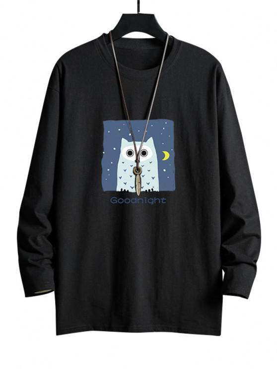 best Night Owl Graphic Drop Shoulder Casual T Shirt - BLACK XS