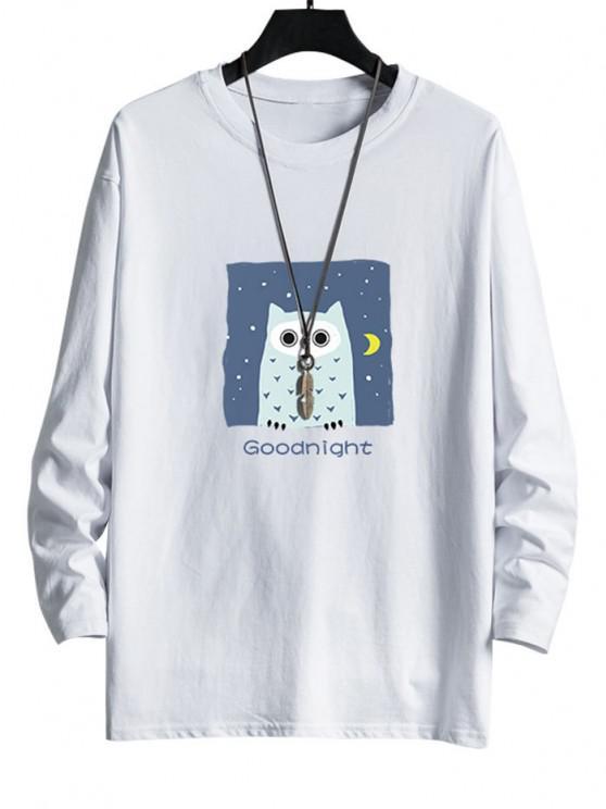 Night Owl Graphic Drop Shoulder Casual T Shirt - أبيض M