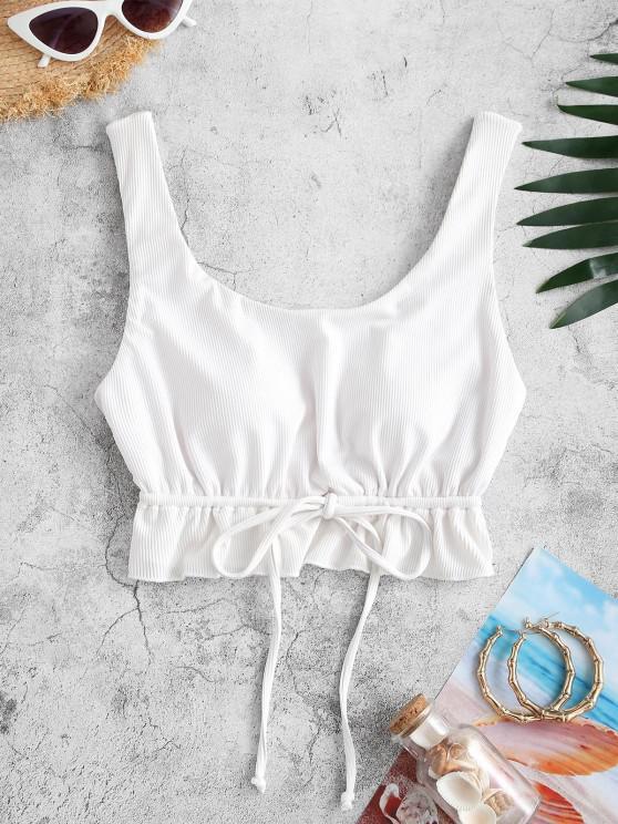 affordable ZAFUL Ribbed Ruffled Drawstring Bikini Top - WHITE M