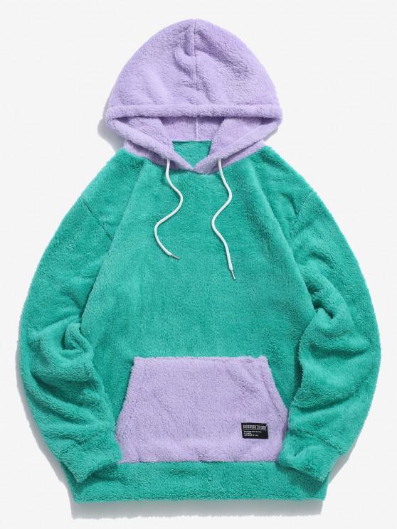 fashion ZAFUL Colorblock Kangaroo Pocket Fluffy Hoodie - LIGHT GREEN 2XL