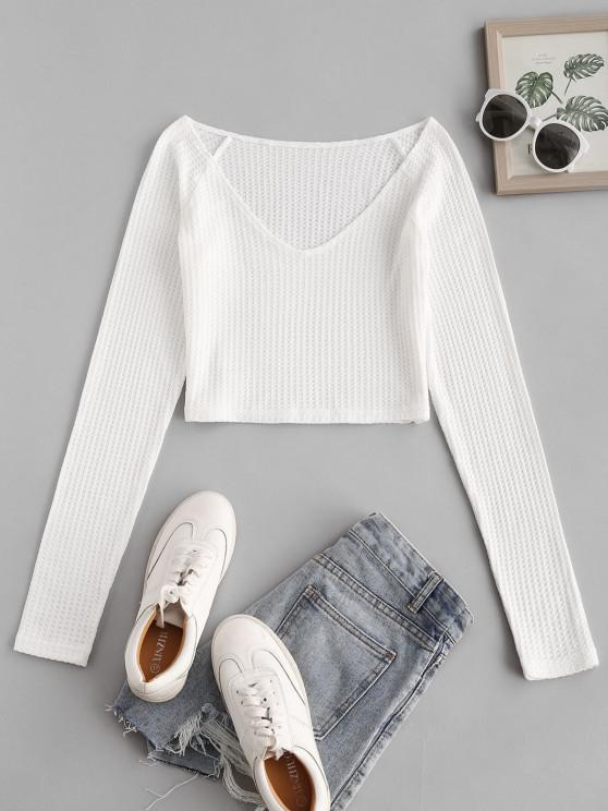 women Raglan Sleeve Plunging Crop Knitwear - WHITE L