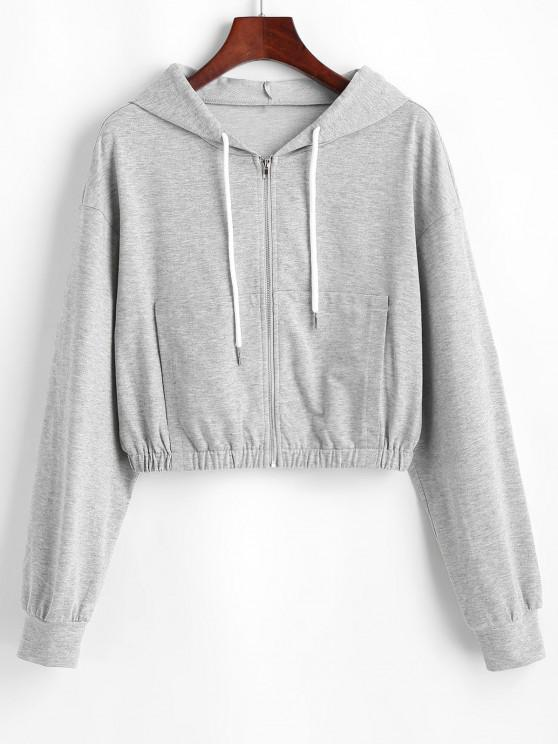 ladies ZAFUL Heathered Crop Zip Up Hoodie - GRAY GOOSE M