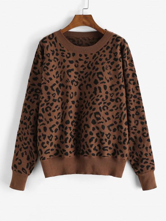 Loose Dolman Sleeve Leopard Sweater - الاحمر الوسخ M