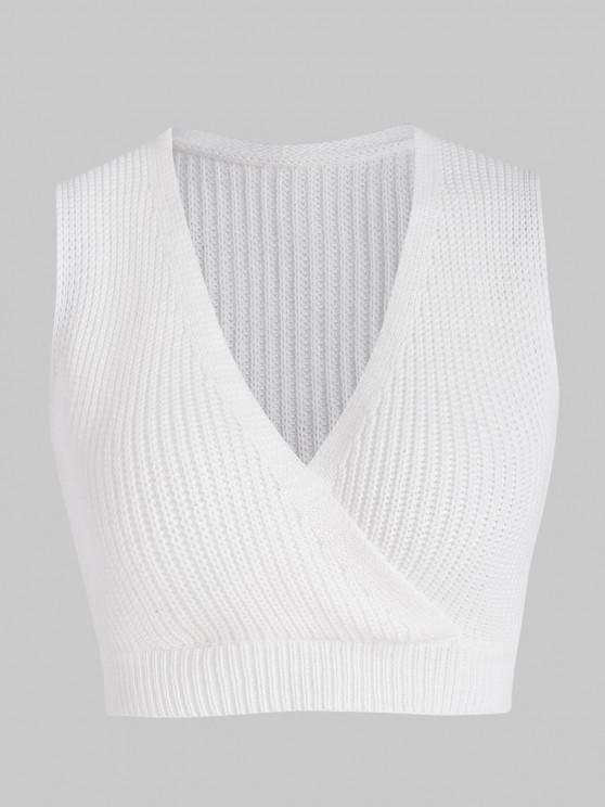 chic Surplice-front Crop Sweater Vest - WHITE