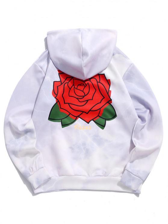Sudadera con Capucha Estampado Rosas Flores - Lila XL