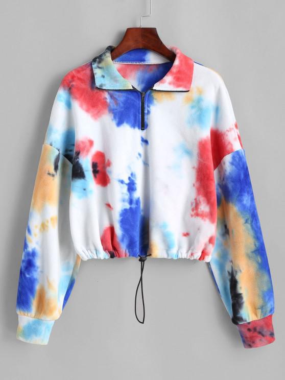 ladies ZAFUL Tie Dye Half Zip Fleece Cropped Sweatshirt - MULTI-A S