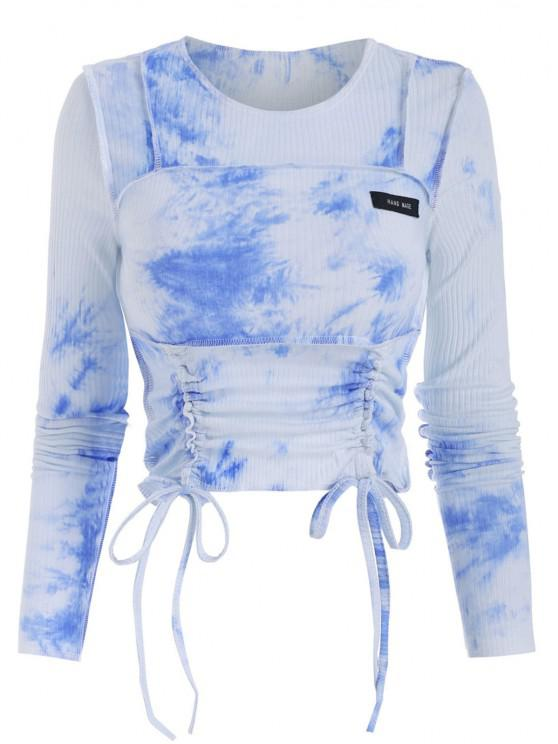 fashion Stitching Tie Dye Ribbed Cinched Tee - SKY BLUE S